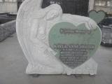Single Angel With Heart Headstone