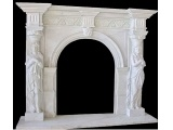 Chinese Hunan White Marble Fireplace